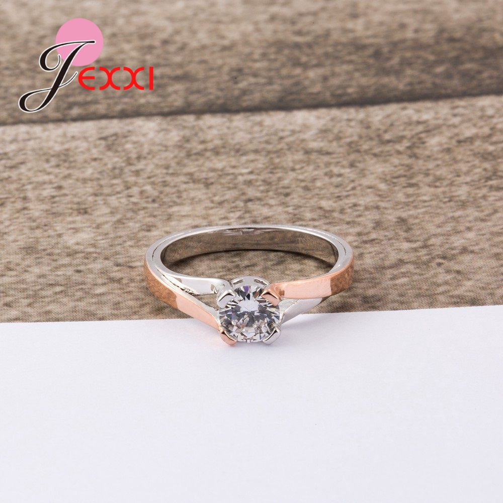 JEXXI Statement Round Shape Rings Fot Cute Women Pretty Good Engagement Accessories Real 925 Sterling Silver Jewelry Popular
