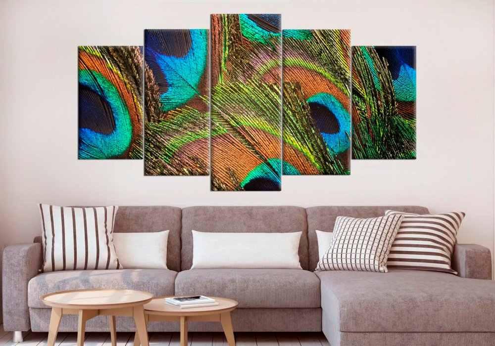 الطاووس ريشة جدار ديكور الطاووس Split Canvas الطاووس الفن طباعة الأخضر الطاووس ريشة الصورة مؤطرة طباعة 5 لوحات جدار الفن int