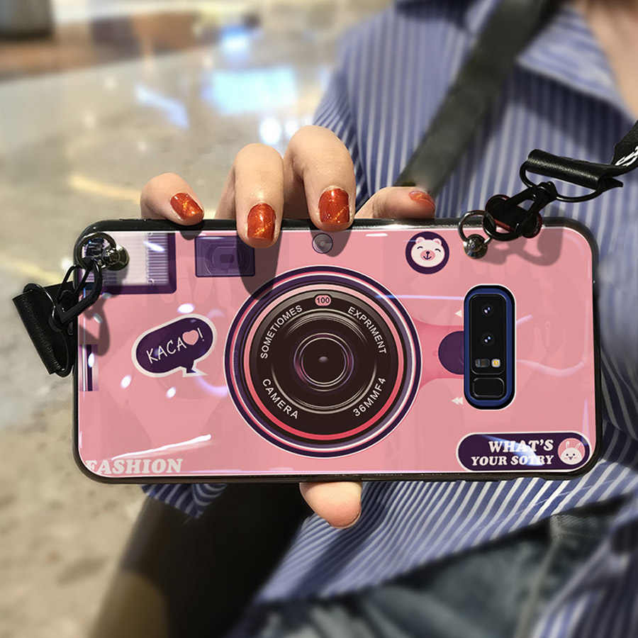 low priced c5424 ebb45 For samsung galaxy note 9 8 s9 s8 plus s7 edge j4 j6 A8 A7 A6 2018case  cover 3d camera with long strap soft silicon phone bag