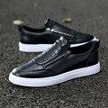2017 Nuevos Zapatos de Los Planos de Los Hombres Zip Punta Redonda Mocasines de Cuero Zapatos de Marca de Moda Al Aire Libre Zapatos Sapatos Masculino N53