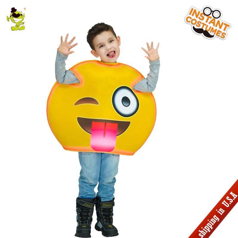 QLQ Halloween Children Tongue Emoji Costume Role Play Fancy Dress Kids Emoticon Clothing Imitation Paries for Carnival Party