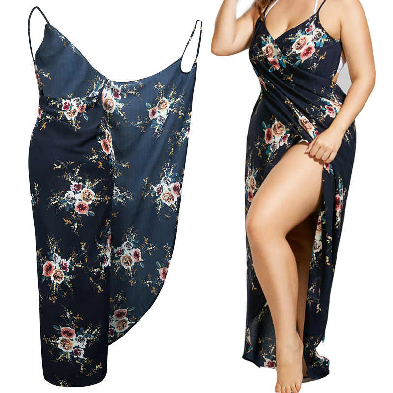 2019 Zomer Bloemen Cover-ups Tiny Wrap Jurk Vrouwen Plus Size gehaakte strand jurk pareo plage Cover ups Mouwloze