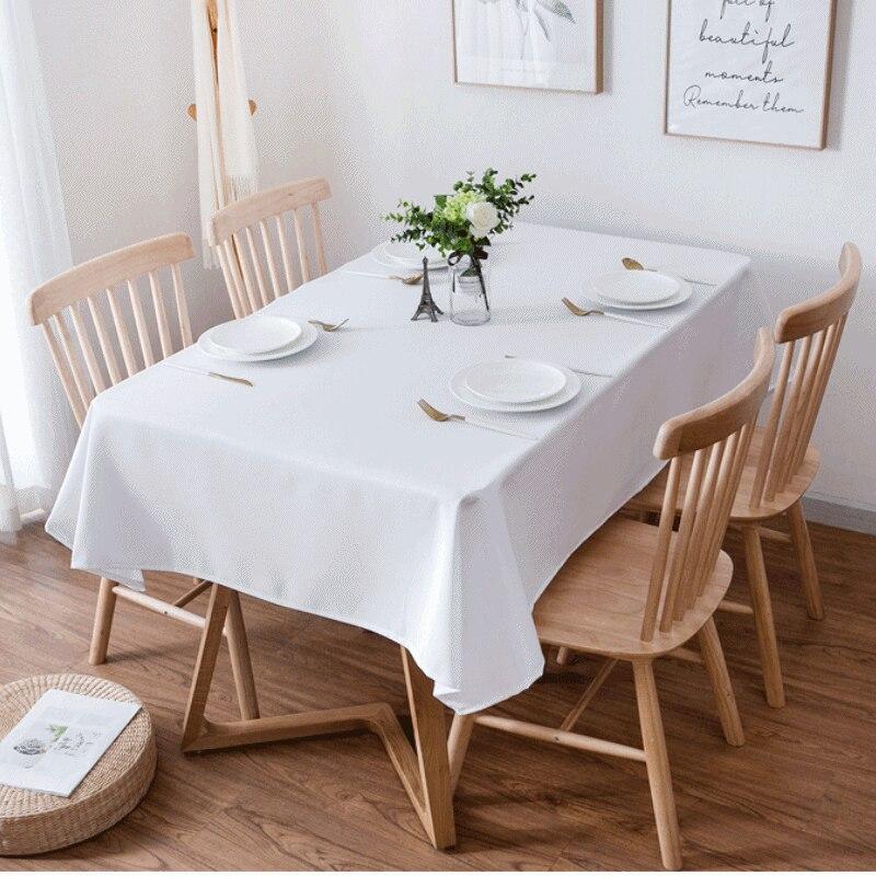 Toalha de mesa mesa retangulares em cor lisa, toalha de mesa branca e cor sólida para sala de jantar