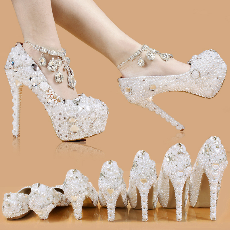 shoes women new wedding shoes pure white Pearl Diamond crystal shoes waterproof single white bride wedding