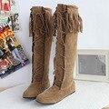 2016 moda na altura do joelho botas de cano alto calcanhar plana outono inverno sexy borla mulheres botas de couro nubuck botas mujer grande tamanho 35-43