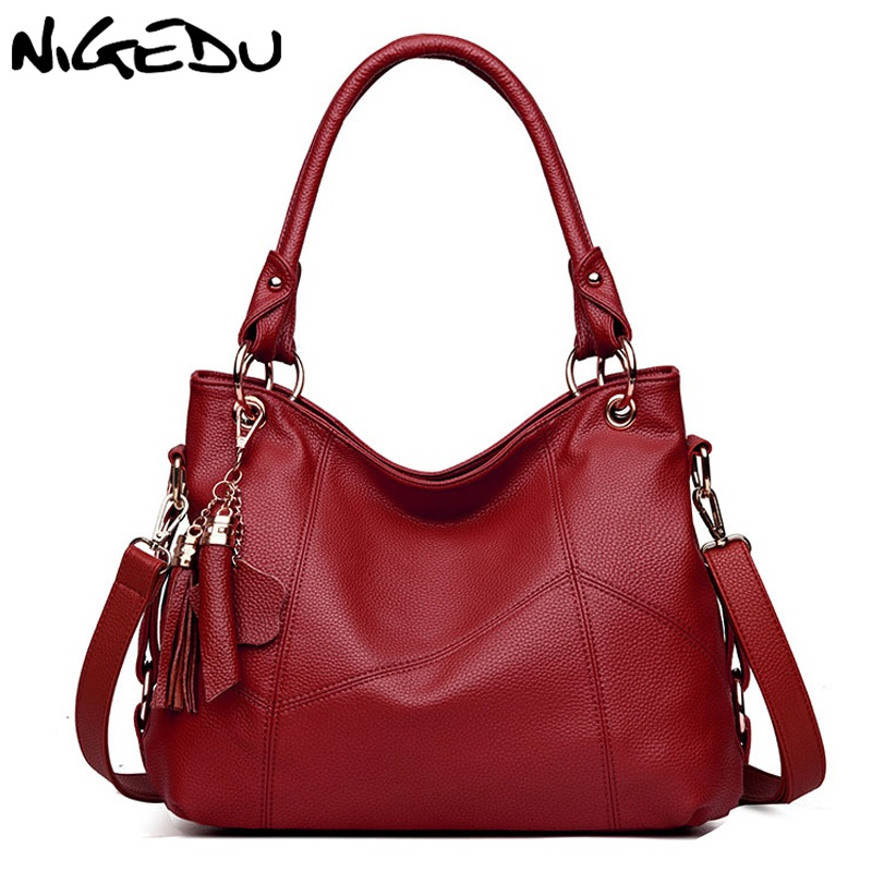NIGEDU Brand New women handbags Large capacity PU leather Women's Totes Fashion tassels lady shoulder bags Mother gift big Totes