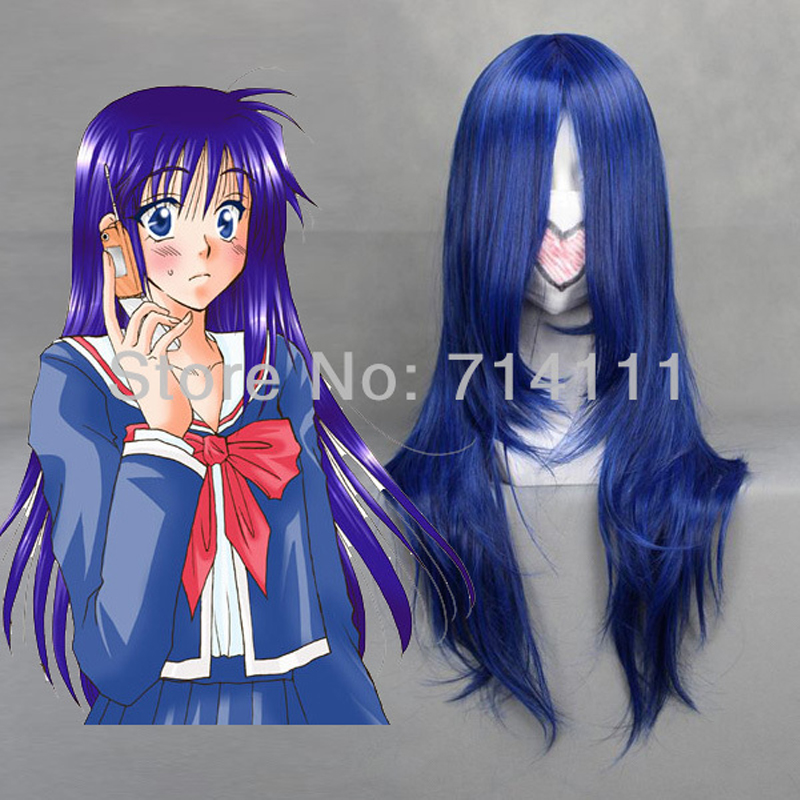 Fujisaki Nadeshiko 65cm Culy dark blue party cosplay costume wig + wig cap