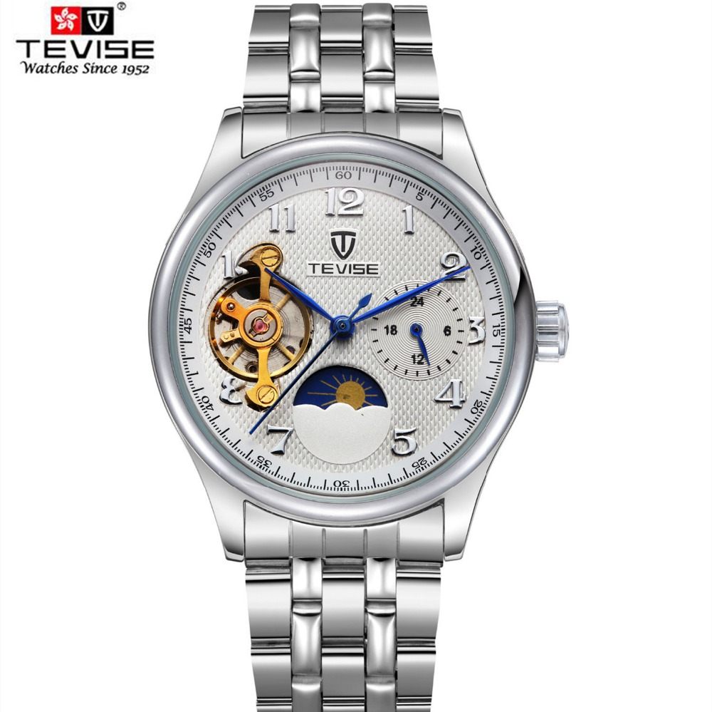 2017 TEVISE Men Moon Phase Watches Automatic Mechanical Watch Tourbillon Clock Leather Casual Business Wristwatch Relojes Hombre tevise men automatic self wind mechanical wristwatches business stainless steel moon phase tourbillon luxury watch clock t805d