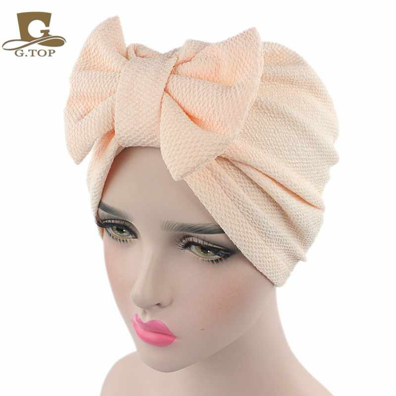 380f55755e9 ... New women luxury bow Turban Hat Stylish Chemo cap detachable bowknot ...
