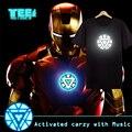 Ativado por som Festa de Natal Usando (Os Vingadores) T-Shirt LED Iron Man EL t-shirts 4 projetos de som ativado