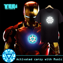Sound activated Christmas Party Using (The Avengers) Iron Man LED T-Shirt EL T shirts 4 designs sound activated