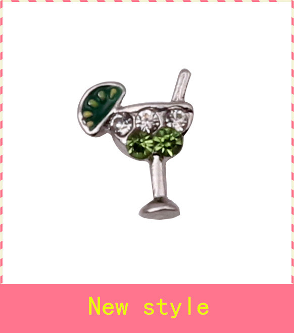 Hot selling 20pcs/lot crystal cocktail floating charms living glass memory floating lockets for diy jewelry