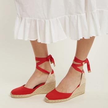 Women Breathable Flax Canvas Pump Ankle Strap Sandal Comfortable Casual Shoe  1