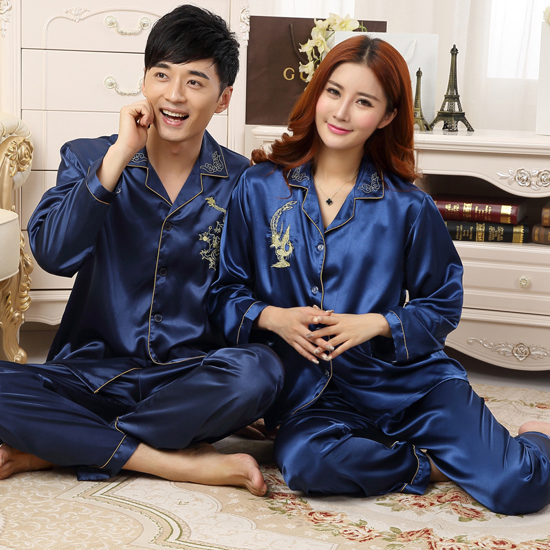 Couple Pajamas Men Women Sexy Satin Silk Pajama Pants Sets Blue Long-Sleeved Pyjama Lounge Sets Lovers Sleepwear