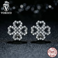 2016 New Authentic 925 Sterling Silver Openwork Flower Stud Earrings for Women Push-Back Wedding Earrings Jewelry S464