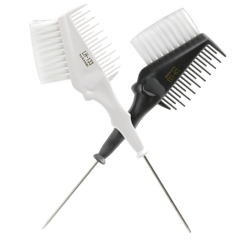 Salon Dyeing Hair Coloring Brush Stainless Steel Handle Hair Dye Comb In Different Length Teeth Professional Coloring Tool LH133
