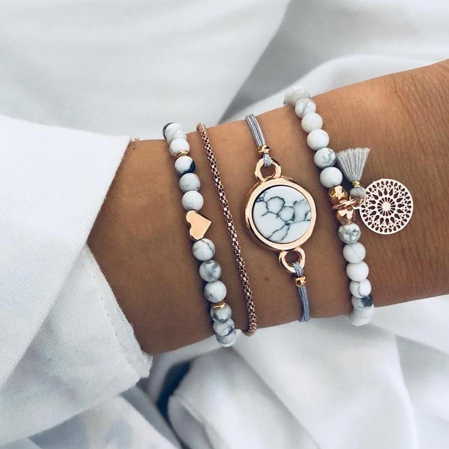 DIEZI Bohemian Handmade Weave Heart Long Tassel Bracelet Sets Women 2018 New Grey Rope Chain Bracelets Jewelry Christmas Gift(China)