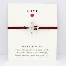 Bow Arrow Key Eiffel Tower Skull Skeleton Daisy Flower Charm Card Bracelets Maroon Women Men Girl Boy Jewelry Christmas Gift