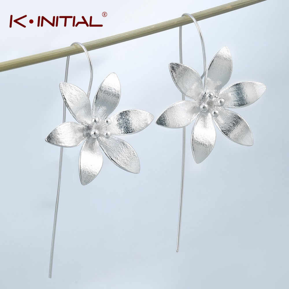 Kinitial Fashion Long Lilac Flower Drop Earrings Petal Clover Earring for women Girls Cute Wedding Statement Jewelry oorbellen