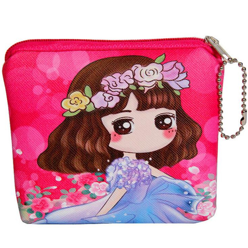 M125 High Performance Price Ratio Women Purses Fine Print Girl Digital Design Square PU Leather Coin Purse Card Bag