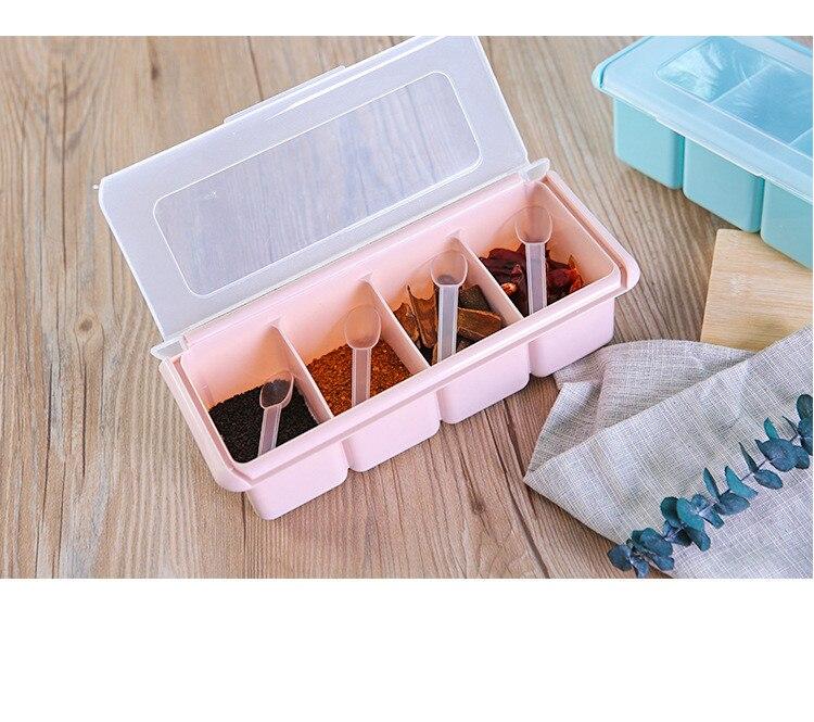 1 шт. Пластик pp Кухня приправа Коробки специи соль, сахар бобов jar контейнер с крышкой приправы держателей 3 или 4 решетки LF 206