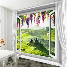 beibehang  3d wallpaper Custom beautiful European 3D window grape mural photo home decoration living room wall