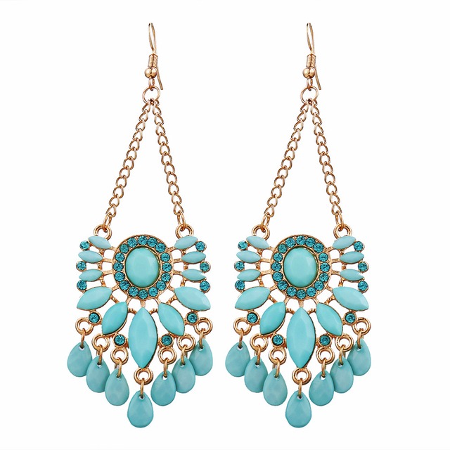 17km Hot Sky Blue Water Drop Crystal Statement Dangle Earring Fancy Luxury Summer Style