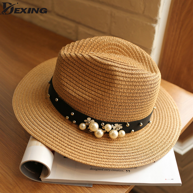 9af438c3a0a 2018 Summer Hats For Women pearl Beads Wide Brimmed Jazz Panama Hat Chapeu  Feminino Sun Visor