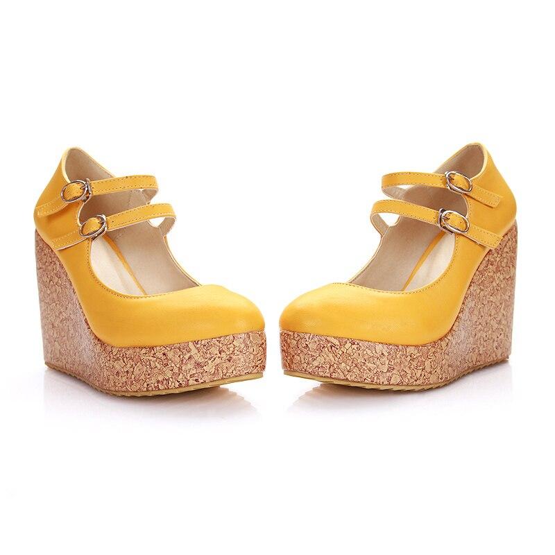 2018 Plus Size 32-43 Woman 10cm High Heels Female Party Wedding Yellow Wedges Platform Heels Talons Bride Mary Jane Green Shoes все цены