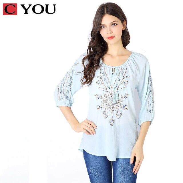 877b15e51b C VOCÊ Marca Tradicional Chinesa roupas 2017 mulheres plus size étnica  manga curta blusa bordado camisa