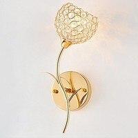 Ouro cristal arandela de parede metal cristal lâmpada de parede contém lâmpadas led frete grátis