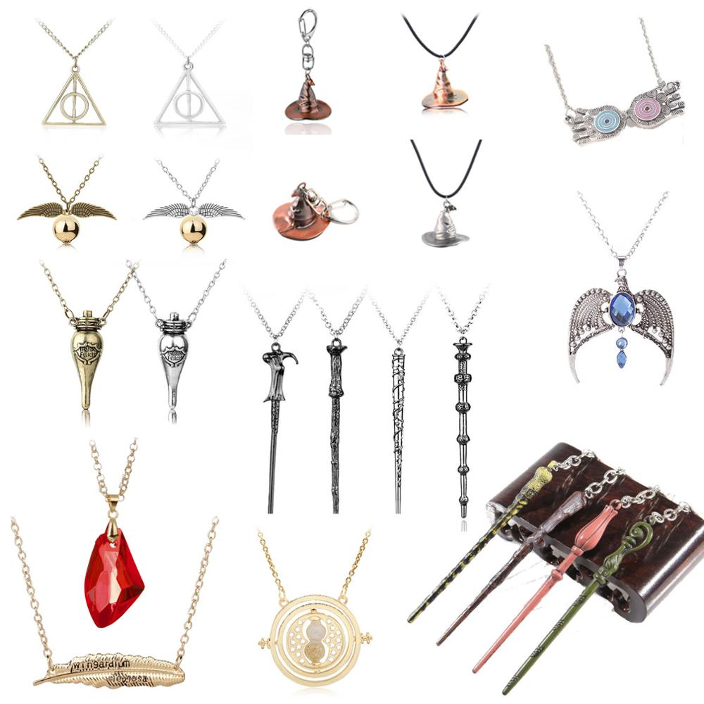 Movie HP Harri Cosplay Model Toys Sorting Hat Pendants Dumbledore Wands Hermione Felix Felicis Red Stone Necklace Quidditchs Toy