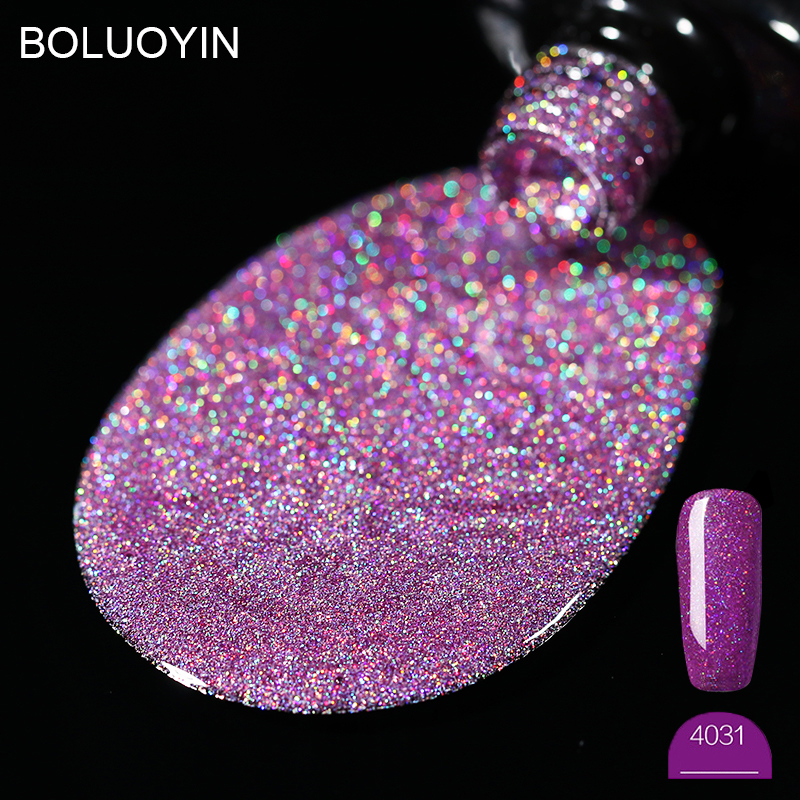 BOLUOYIN Purple Platinum Nail Gel Polish 31 Color 8ml Glitter Sequins Starry UV Art Lacquer Varnish