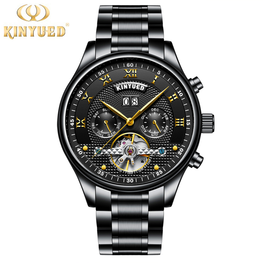 KINYUED Full Calendar Tourbillon Automatic Mechanical Mens Watches Top Brand Luxury Wrist Watch erkek kol saati Montre Homme luxury fashion canvas mens analog watch wrist watches relogio feminino erkek kol saati mens watches skmei saat relojes hombre vi