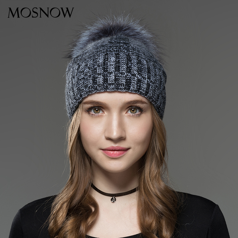 Mosnow Hats For Women New Wool Silver Fox Fur Pom Poms Mix Color Winter Knitted Casual Vogue Warm Winter Hats   Skullies     Beanies