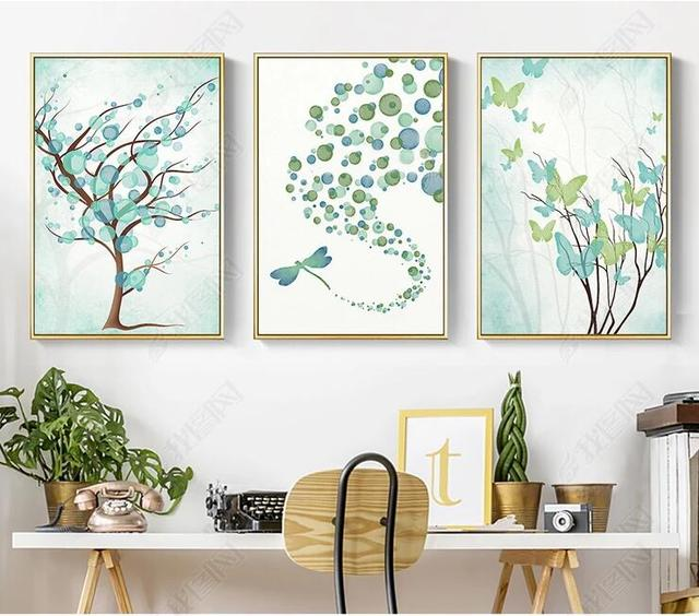 Fantastic Green Plants Painting Cute Butterfly Dragonfly Living Room Poster Canvas Modern Wall Picture Home Decor No Frame