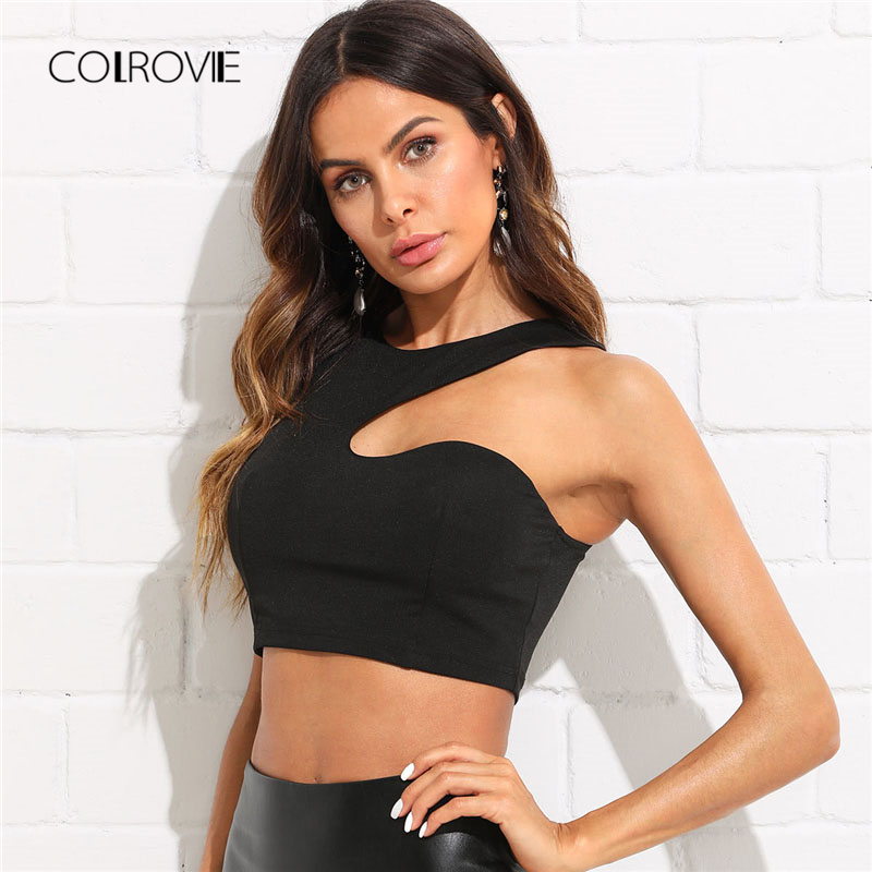 COLROVIE Solid Asymmetrical Crop Shell Tank Top 2018 New Slim Fit Plain Female Crop Top Black Round Neck Cut Out Camisole Tank