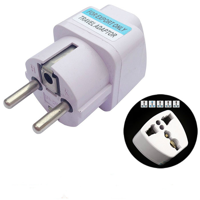 new International Travel Universal Adapter Electrical Plug For UK US EU AU to EU European Socket Converter White 110 250V 10A