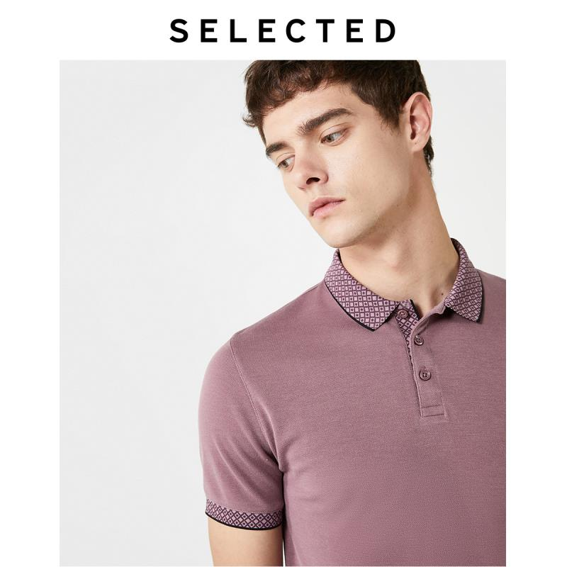 SELECTED Men's Summer Checked Dots Turn-down Collar Poloshirt S|419206574