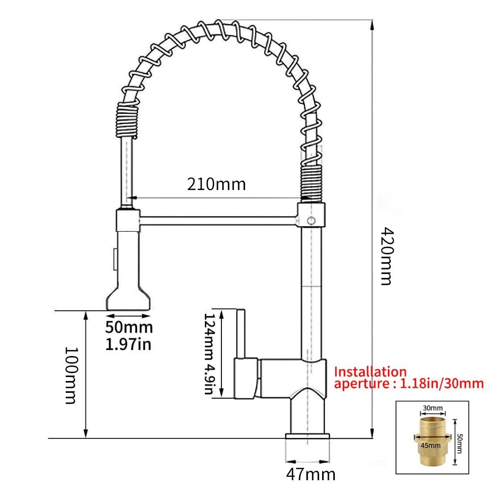 Robinets de cuisine brosse robinets en laiton pour évier de cuisine levier unique tirer ressort bec mélangeurs robinet eau chaude froide grue 9009 - 5