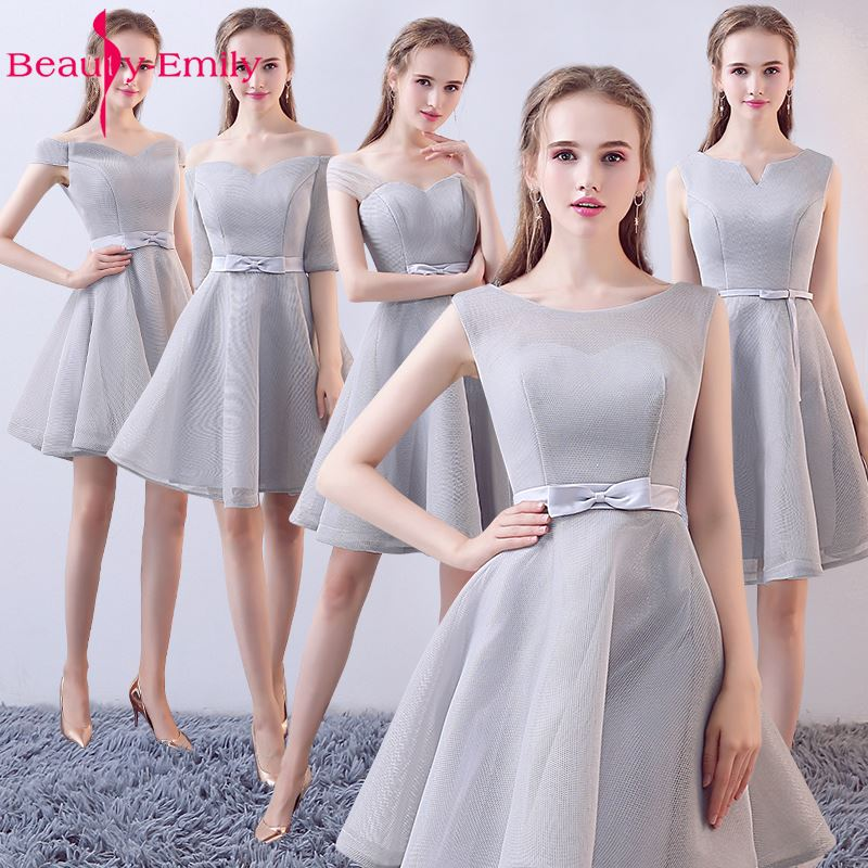 Beauty-Emily Grey Tulle Cheap A-Line   Bridesmaid     Dresses   2019 Knee-Lneght Lace Up Offt the Shoulder Homecoming Party   Dresses