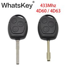 WhatsKey 433Mhz 4D60 4D63 Chip 3 Button Remote Car Key For Ford Focus 2 Fiesta Fusion C-Max Mondeo Galaxy C Max S
