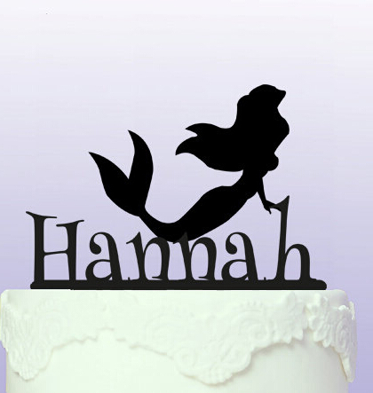 Acrylic Personalised name Little Mermaid Cake Topper birthday cake