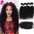 7A Malaysian Virgin Hair Deep Wave With Closure 4 Bundles With Closure Human Hair Extensions Deep Wave Curly Hair With Closure