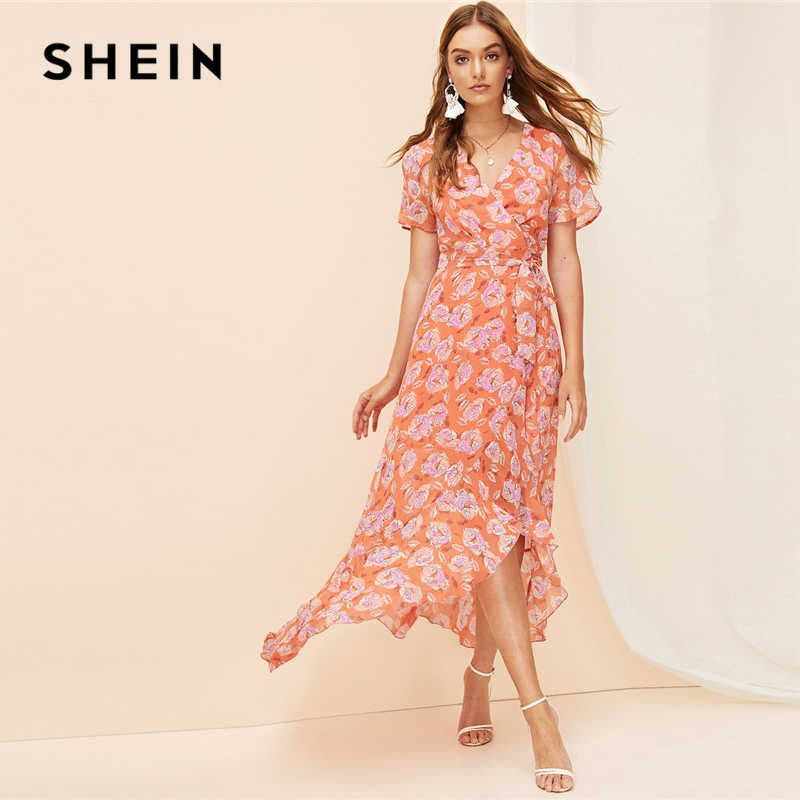 SHEIN летнее платье макси в богемном стиле с оранжевым разрезом, асимметричным подолом, поясом и цветочным принтом 2019, женское элегантное платье трапециевидной формы с v-образным вырезом