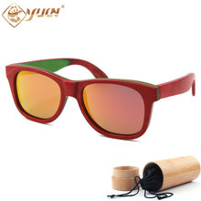 Red Skateboard Wood Frame Sunglasses High Quality Handmade Driving Sun Glasses Polarized Wooden Glasses For Men and Women W108