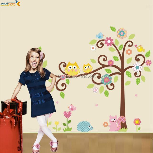 Hibou stickers muraux coloré arbre mur arts zooyoo1001 bande dessinée sticker diy animaux stickers muraux pour enfants chambre décorations pour la maison