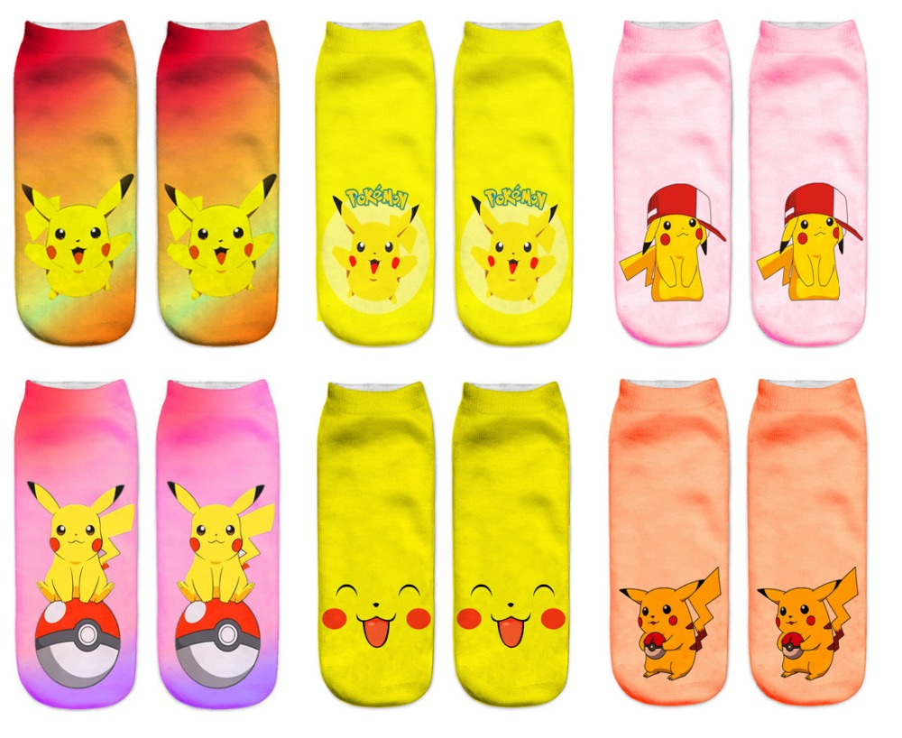 Women Fashionable New Hot 3D Printed Funny Casual Brand Spring Summer Unisex Pokemon Pikachu Female Short Ankle   Socks