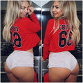 New Womens Long Sleeve Number Hoodie Sweatshirt Autumn Winter Hot Sexy Short Tops