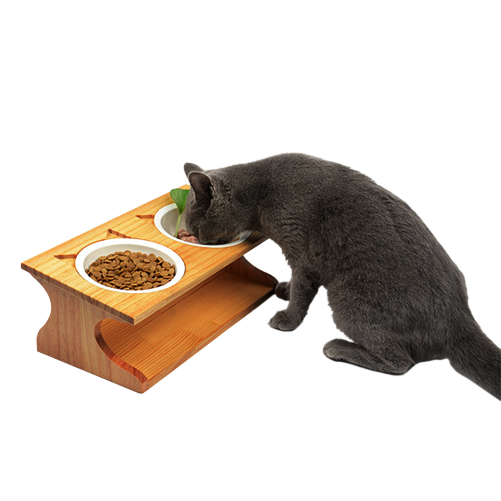Wholesale Pet Cat Dining Table Bamboo Type Ceramic Double Pet Bowls Small Puppy Pet Dogs Cats Food Water Feeder Container